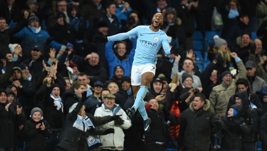 Manchester City's English midfielder Raheem Sterling celebrates scoring his team's second goal during the English Premier League football match between Manchester City and Southampton at the Etihad Stadium in Manchester, north west England, on November 29, 2017. Manchester City won the match 2-1. / AFP PHOTO / Oli SCARFF / RESTRICTED TO EDITORIAL USE. No use with unauthorized audio, video, data, fixture lists, club/league logos or 'live' services. Online in-match use limited to 75 images, no video emulation. No use in betting, games or single club/league/player publications.  /         (Photo credit should read OLI SCARFF/AFP/Getty Images)