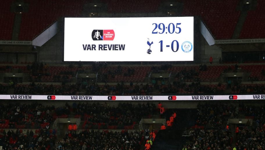 LONDON, ENGLAND - FEBRUARY 28:  A view of the scoreboard as a decision is reviewed by VAR during The Emirates FA Cup Fifth Round Replay between Tottenham Hotspur and Rochdale on February 28, 2018 in London, United Kingdom. (Photo by Catherine Ivill/Getty Images)