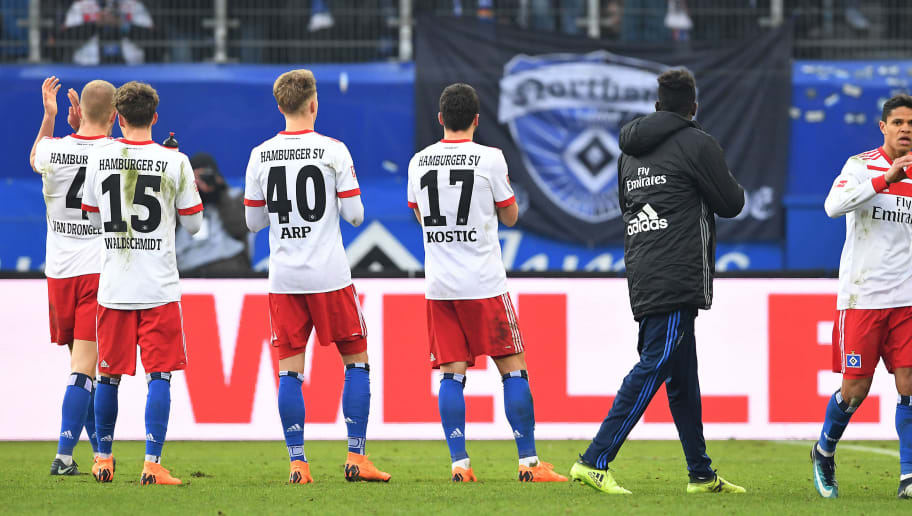 HAMBURG, GERMANY - MARCH 03: Supporters of Hamburg display a banner against their team, saying thanks for nothing, as players leave the pitch dejected, after the Bundesliga match between Hamburger SV and 1. FSV Mainz 05 at Volksparkstadion on March 3, 2018 in Hamburg, Germany. (Photo by Stuart Franklin/Bongarts/Getty Images)
