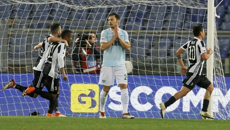 ROME, ITALY - MARCH 03: Paul Dybala of Juventus celebrate a opening goal during the serie A match between SS Lazio and Juventus at Stadio Olimpico on March 3, 2018 in Rome, Italy.  (Photo by Marco Rosi/Getty Images)