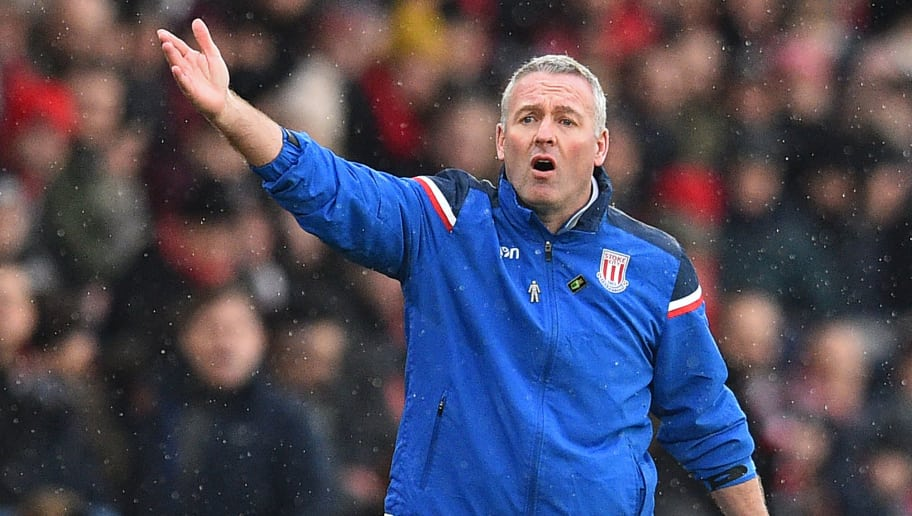 Stoke City's Scottish manager Paul Lambert gestures on the touchline during the English Premier League football match between Southampton and Stoke City at St Mary's Stadium in Southampton, southern England on March 3, 2018. / AFP PHOTO / Glyn KIRK / RESTRICTED TO EDITORIAL USE. No use with unauthorized audio, video, data, fixture lists, club/league logos or 'live' services. Online in-match use limited to 75 images, no video emulation. No use in betting, games or single club/league/player publications.  /         (Photo credit should read GLYN KIRK/AFP/Getty Images)