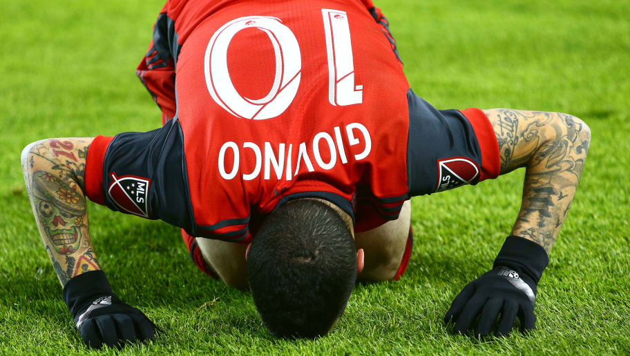 TORONTO, ON - DECEMBER 09:  Sebastian Giovinco #10 of Toronto FC gets up from the ground during the 2017 MLS Cup Final against the Seattle Sounders at BMO Field on December 9, 2017 in Toronto, Ontario, Canada.  (Photo by Vaughn Ridley/Getty Images)