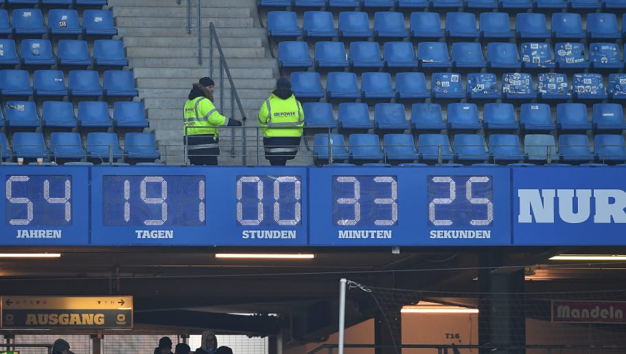 HAMBURG, GERMANY - MARCH 03: The clock in the arena keep ticking for Hamburg, after the Bundesliga match between Hamburger SV and 1. FSV Mainz 05 at Volksparkstadion on March 3, 2018 in Hamburg, Germany. (Photo by Stuart Franklin/Bongarts/Getty Images)