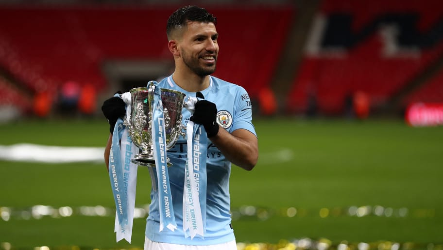 LONDON, ENGLAND - FEBRUARY 25: Sergio Aguero of Manchester City celebrates with the trophy after the Carabao Cup Final between Arsenal and Manchester City at Wembley Stadium on February 25, 2018 in London, England. (Photo by Catherine Ivill/Getty Images)