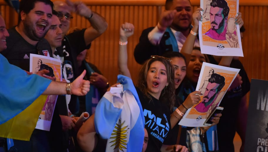 MIAMI, FL - JANUARY 29: Soccer fans chant before the start of the press conference to announce an MLS franchise in Miami at the Knight Concert Hall on January 29, 2018 in Miami, Florida. (Photo by Eric Espada/Getty Images)
