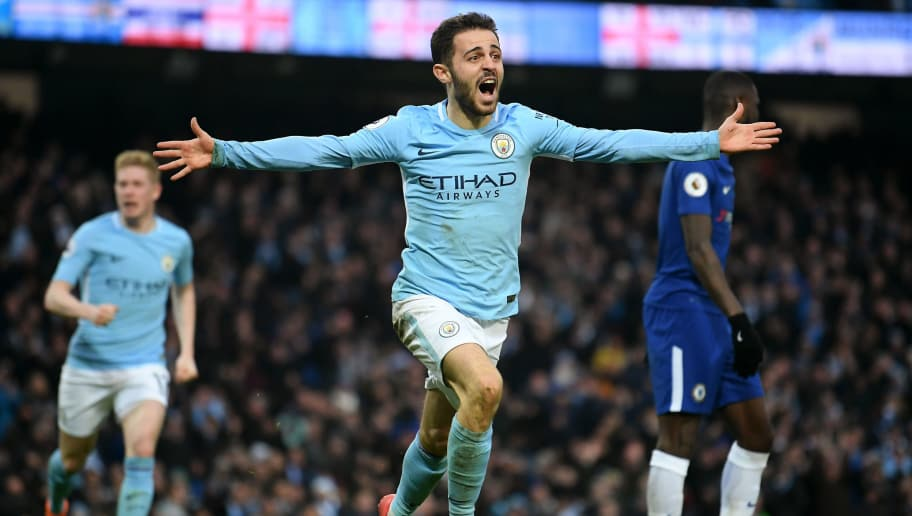 MANCHESTER, ENGLAND - MARCH 04:  Bernardo Silva of Manchester City celebrates scoring his side's first goal during the Premier League match between Manchester City and Chelsea at Etihad Stadium on March 4, 2018 in Manchester, England.  (Photo by Laurence Griffiths/Getty Images)