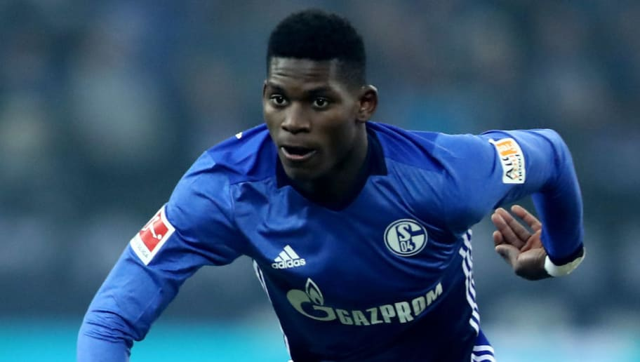 GELSENKIRCHEN, GERMANY - MARCH 03: Breel Embolo of Schalke runs with the ball during the Bundesliga match between FC Schalke 04 and Hertha BSC at Veltins-Arena on March 3, 2018 in Gelsenkirchen, Germany. The match between Schalke and Berlin ended 1-0. (Photo by Christof Koepsel/Bongarts/Getty Images)