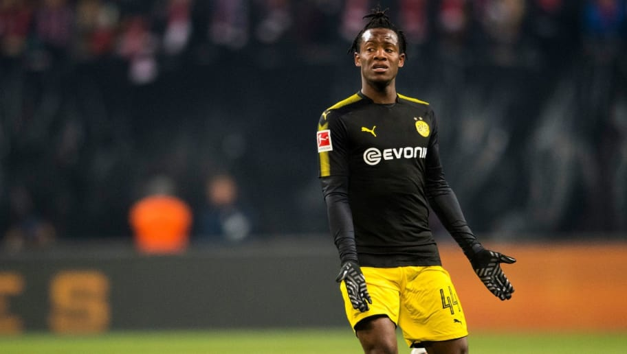 Dortmund's Belgian striker Michy Batshuayi reacts during the German first division Bundesliga football match RB Leipzig vs Borussia Dortmund in Leipzig, eastern Germany, on March 3, 2018. / AFP PHOTO / ROBERT MICHAEL / RESTRICTIONS: DURING MATCH TIME: DFL RULES TO LIMIT THE ONLINE USAGE TO 15 PICTURES PER MATCH AND FORBID IMAGE SEQUENCES TO SIMULATE VIDEO. == RESTRICTED TO EDITORIAL USE == FOR FURTHER QUERIES PLEASE CONTACT DFL DIRECTLY AT + 49 69 650050         (Photo credit should read ROBERT MICHAEL/AFP/Getty Images)