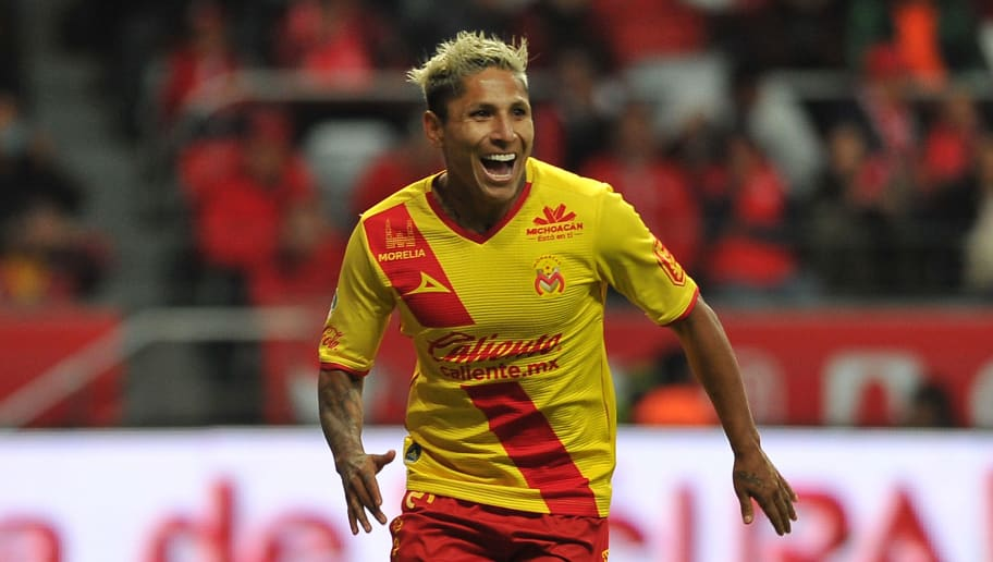 Raul Ruidiaz of Morelia celebrates his goal against Toluca during their quarter final Mexican Apertura tournament football match at the Nemesio Diez stadium on November 22, 2017, in Toluca,Mexico. / AFP PHOTO / ROCIO VAZQUEZ        (Photo credit should read ROCIO VAZQUEZ/AFP/Getty Images)