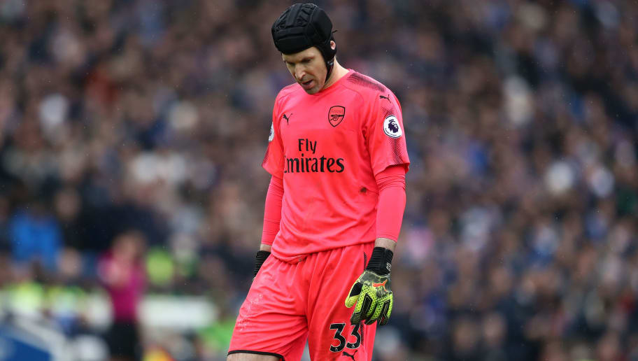 BRIGHTON, ENGLAND - MARCH 04: A dejected looking Petr Cech of Arsenal during the Premier League match between Brighton and Hove Albion and Arsenal at Amex Stadium on March 4, 2018 in Brighton, England. (Photo by Catherine Ivill/Getty Images)