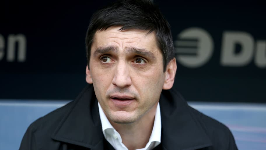 COLOGNE, GERMANY - MARCH 04: Head coach Tayfun Korkut of Stuttgart is seen during the Bundesliga match between 1. FC Koeln and VfB Stuttgart at RheinEnergieStadion on March 4, 2018 in Cologne, Germany. The match between Koeln and Stuttgart ended 2-3. (Photo by Christof Koepsel/Bongarts/Getty Images)