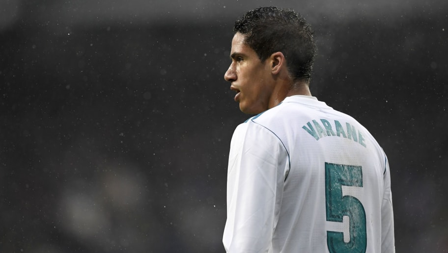 aec0dc7ebca Real Madrid s French defender Raphael Varane reacts during the Spanish  league football match between Real Madrid