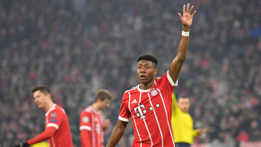 MUNICH, GERMANY - FEBRUARY 20: David Alaba of Bayern Muenchen gestures during the UEFA Champions League Round of 16 First Leg match between Bayern Muenchen and Besiktas at Allianz Arena on February 20, 2018 in Munich, Germany. (Photo by Sebastian Widmann/Bongarts/Getty Images)