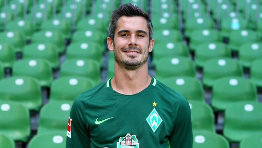 BREMEN, GERMANY - JULY 19:  Fin Bartels of Werder Bremen poses during the team presentation at Weser Stadium on July 19, 2017 in Bremen, Germany.  (Photo by Christof Koepsel/Bongarts/Getty Images)