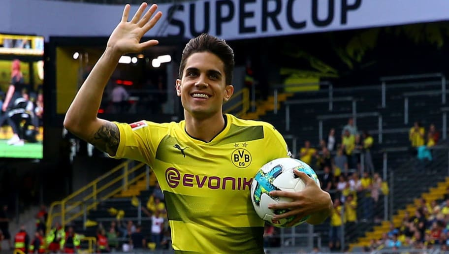 DORTMUND, GERMANY - AUGUST 04: Marc Bartra welcomes the fans during the Borussia Dortmund Season Opening 2017/18 at Signal Iduna Park on August 4, 2017 in Dortmund, Germany.  (Photo by Christof Koepsel/Bongarts/Getty Images)