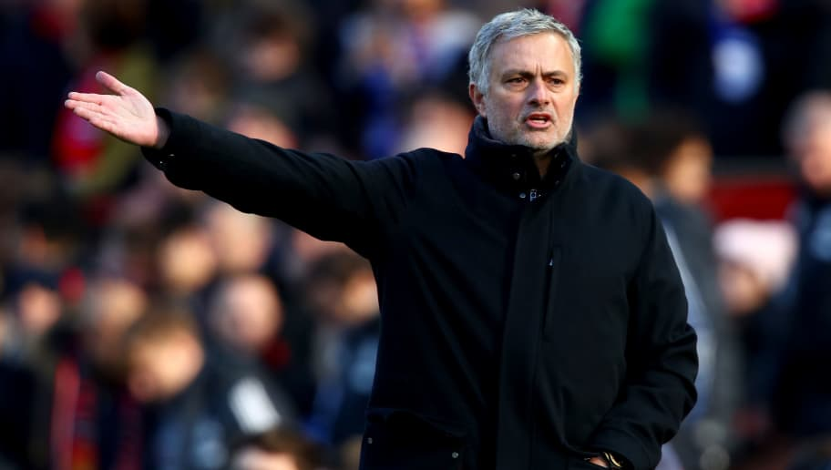 MANCHESTER, ENGLAND - FEBRUARY 25:  Jose Mourinho, Manager of Manchester United gestures during the Premier League match between Manchester United and Chelsea at Old Trafford on February 25, 2018 in Manchester, England.  (Photo by Clive Brunskill/Getty Images)