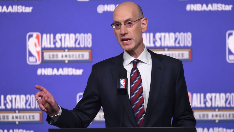 LOS ANGELES, CA - FEBRUARY 17:  NBA Commissioner Adam Silver speaks onstage during the All-Star Press Conference at Staples Center on February 17, 2018 in Los Angeles, California.  (Photo by Jayne Kamin-Oncea/Getty Images)