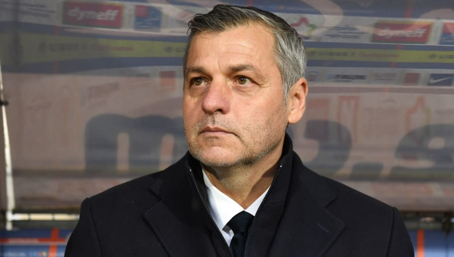 Lyon's French head coach Bruno Genesio looks on during the French L1 football match between Montpellier (MHSC) and Lyon (OL), on March 4, 2018, at the La Mosson Stadium in Montpellier, southern France. / AFP PHOTO / PASCAL GUYOT        (Photo credit should read PASCAL GUYOT/AFP/Getty Images)