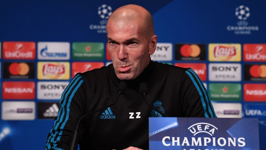 Real Madrid's French head coach Zinedine Zidane gives a press conference at the Parc des Princes stadium in Paris on March 5, 2018 on the eve of their Champions' League football match against Paris Saint Germain (PSG). / AFP PHOTO / FRANCK FIFE        (Photo credit should read FRANCK FIFE/AFP/Getty Images)