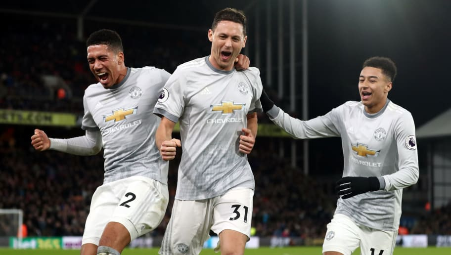 LONDON, ENGLAND - MARCH 05: Chris Smalling, Nemanja Matic and Jesse Lingard of Manchester United celebrate during the Premier League match between Crystal Palace and Manchester United at Selhurst Park on March 5, 2018 in London, England. (Photo by Catherine Ivill/Getty Images)