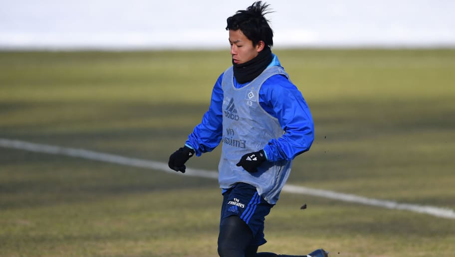 HAMBURG, GERMANY - FEBRUARY 28:  Tatsuya Ito of Hamburg in action during a the training session of Hamburger SV at Volksparkstadion on February 28, 2018 in Hamburg, Germany.  (Photo by Stuart Franklin/Bongarts/Getty Images)