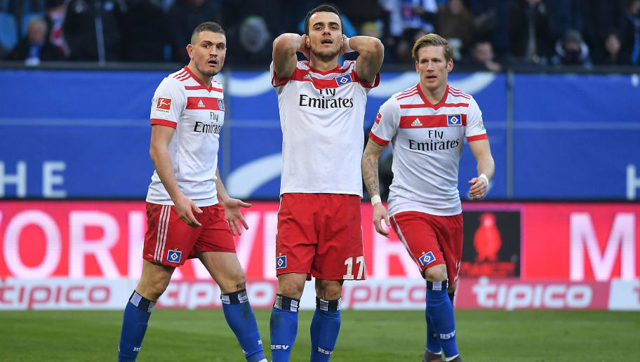 HAMBURG, GERMANY - MARCH 03: Filip Kostic of Hamburg (17) misses a penalty during the Bundesliga match between Hamburger SV and 1. FSV Mainz 05 at Volksparkstadion on March 3, 2018 in Hamburg, Germany. (Photo by Stuart Franklin/Bongarts/Getty Images)