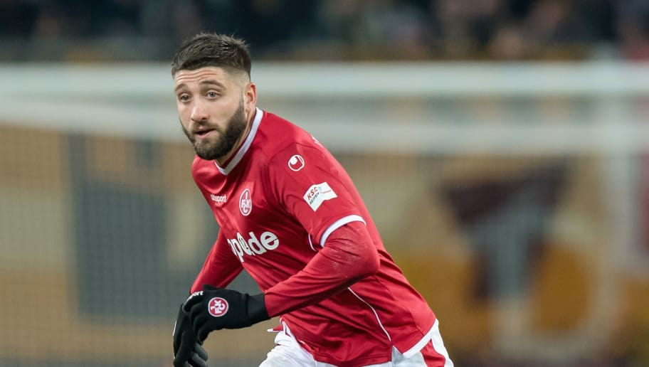 DRESDEN, GERMANY - NOVEMBER 20:  Brandon Borrello of Kaiserslautern plays the ball during the Second Bundesliga match between SG Dynamo Dresden and 1. FC Kaiserslautern at DDV-Stadion on November 20, 2017 in Dresden, Germany.  (Photo by Thomas Eisenhuth/Bongarts/Getty Images)