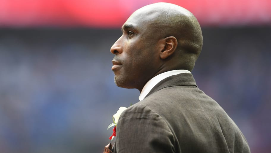 LONDON, ENGLAND - MAY 27: Ex Arsenal player Sol Campbell looks on during the Emirates FA Cup Final between Arsenal and Chelsea at Wembley Stadium on May 27, 2017 in London, England.  (Photo by Laurence Griffiths/Getty Images)