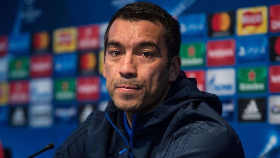 Feyenoord Rotterdam's Dutch manager Giovanni van Bronckhorst attends a press conference at the Etihad Stadium in Manchester, northern England, on November 20, 2017 on the eve of their UEFA Champions League group F match against Manchester City. / AFP PHOTO / Oli SCARFF        (Photo credit should read OLI SCARFF/AFP/Getty Images)