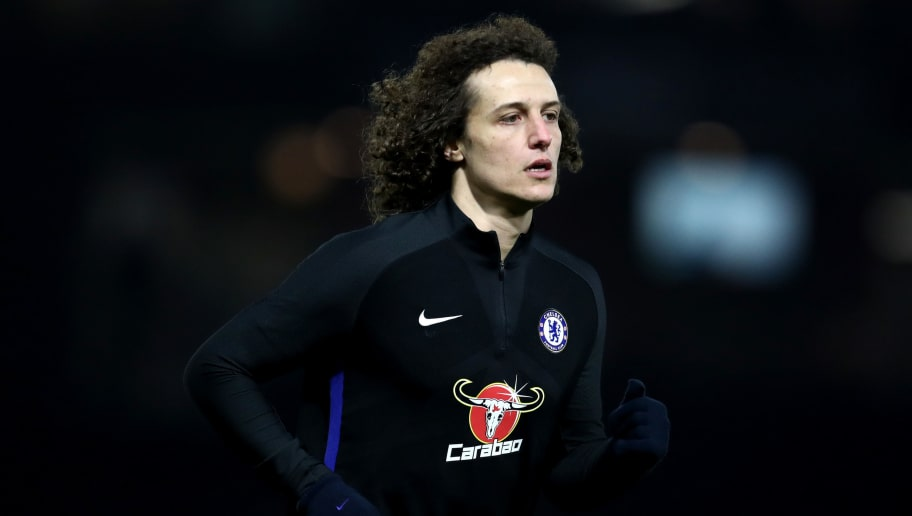 WATFORD, ENGLAND - FEBRUARY 05:  David Luiz of Chelsea warms up ahead of the Premier League match between Watford and Chelsea at Vicarage Road on February 5, 2018 in Watford, England.  (Photo by Catherine Ivill/Getty Images)