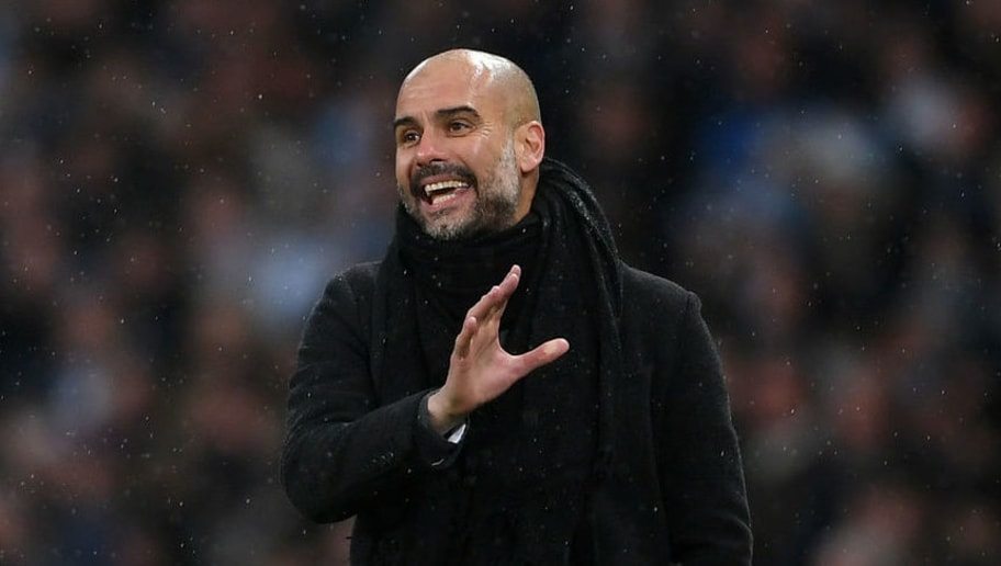 MANCHESTER, ENGLAND - MARCH 04:  Josep Guardiola, Manager of Manchester City looks on during the Premier League match between Manchester City and Chelsea at Etihad Stadium on March 4, 2018 in Manchester, England.  (Photo by Laurence Griffiths/Getty Images)