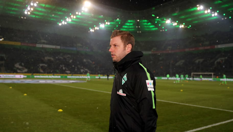 MOENCHENGLADBACH, GERMANY - MARCH 02: Head coach Florian Kohfeldt of Bremen looks on prior to the Bundesliga match between Borussia Moenchengladbach and SV Werder Bremen at Borussia-Park on March 2, 2018 in Moenchengladbach, Germany. (Photo by Christof Koepsel/Bongarts/Getty Images)