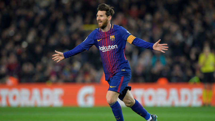 d0df2e1b15 Barcelona s Argentinian forward Lionel Messi celebrates after scoring his  second goal during the Spanish league football