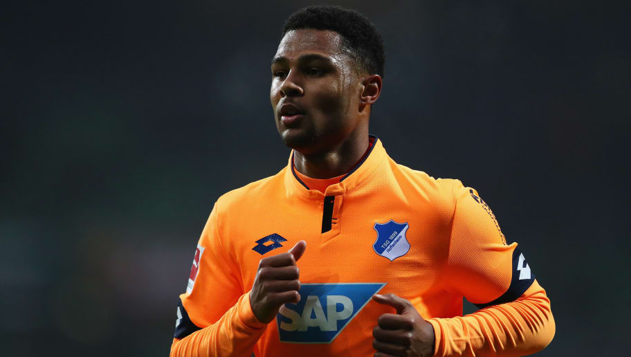 BREMEN, GERMANY - JANUARY 13:  Serge Gnabry of TSG 1899 Hoffenheim in action during the Bundesliga match between SV Werder Bremen and TSG 1899 Hoffenheim at Weserstadion on January 13, 2018 in Bremen, Germany.  (Photo by Dean Mouhtaropoulos/Bongarts/Getty Images)