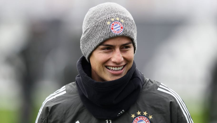 MUNICH, GERMANY - DECEMBER 04: James Rodriguez of Bayern Muenchen looks on during a Bayern Muenchen training session on the eve of their UEFA Champions League match against PSG at Saebener Strasse training ground on December 4, 2017 in Munich, Germany.  (Photo by Adam Pretty/Bongarts/Getty Images)