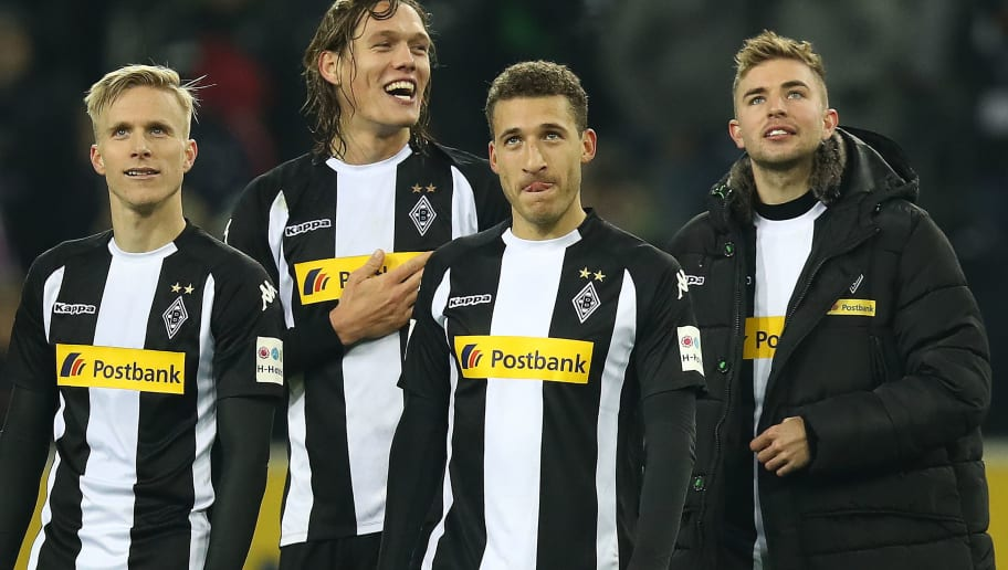 MOENCHENGLADBACH, GERMANY - NOVEMBER 25: (L-R:) Oscar Wendt of Moenchengladbach, Jannik Vestergaard of Moenchengladbach, Fabian Johnson of Moenchengladbach and Christoph Kramer of Moenchengladbach celebrate after the Bundesliga match between Borussia Moenchengladbach and FC Bayern Muenchen at Borussia-Park on November 25, 2017 in Moenchengladbach, Germany. (Photo by Maja Hitij/Bongarts/Getty Images)