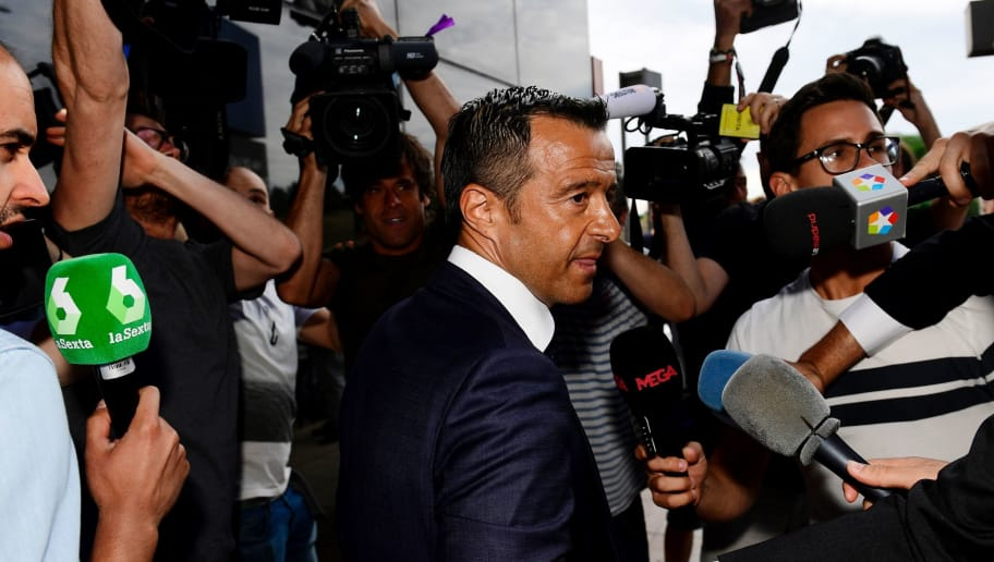 Footballing super-agent Jorge Mendes (C), surrounded by journalists, arrives at the Court in Pozuelo de Alarcon on June 27, 2017 to be questioned by Spanish judge as part of a probe into Colombian striker Radamel Falcao's alleged tax evasion. / AFP PHOTO / PIERRE-PHILIPPE MARCOU        (Photo credit should read PIERRE-PHILIPPE MARCOU/AFP/Getty Images)
