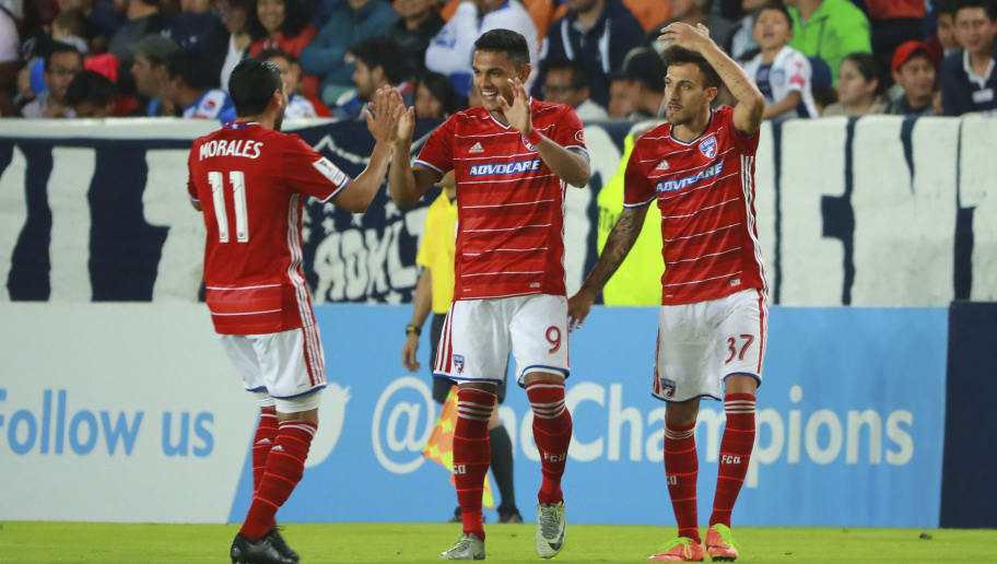 PACHUCA, MEXICO - APRIL 04:  Cristian Colman of FC Dallas celebrates after scoring the first goal of his team during the semifinals second leg match between Pachuca and FC Dallas as part of the CONCACAF Champions League 2017 at Hidalgo Stadium on April 04, 2017 in Pachuca, Mexico. (Photo by Hector Vivas/LatinContent/Getty Images)