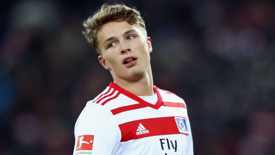 FREIBURG IM BREISGAU, GERMANY - DECEMBER 01: Jann-Fiete Arp of Hamburg reacts during the Bundesliga match between Sport-Club Freiburg and Hamburger SV at Schwarzwald-Stadion on December 1, 2017 in Freiburg im Breisgau, Germany.  (Photo by Alex Grimm/Bongarts/Getty Images)