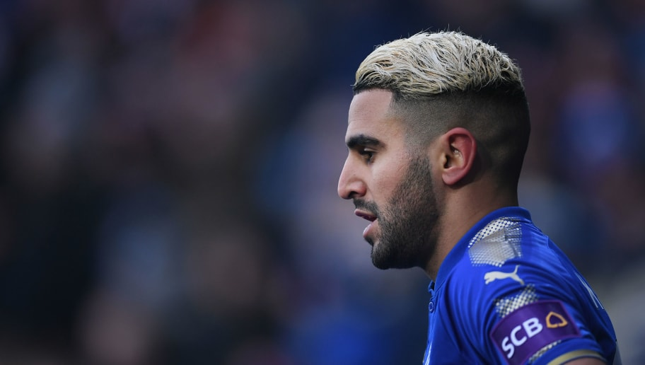 LEICESTER, ENGLAND - MARCH 03:  Riyad Mahrez of Leicester City looks on during the Premier League match between Leicester City and AFC Bournemouth at The King Power Stadium on March 3, 2018 in Leicester, England.  (Photo by Laurence Griffiths/Getty Images)