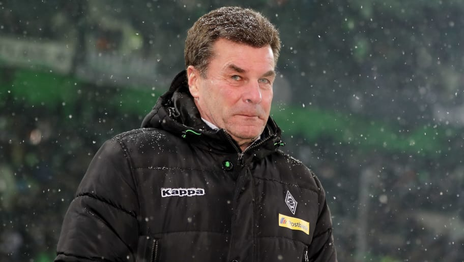 MOENCHENGLADBACH, GERMANY - MARCH 02: Head coach Dieter Hecking of Moenchengladbach looks on prior to the Bundesliga match between Borussia Moenchengladbach and SV Werder Bremen at Borussia-Park on March 2, 2018 in Moenchengladbach, Germany. (Photo by Christof Koepsel/Bongarts/Getty Images)