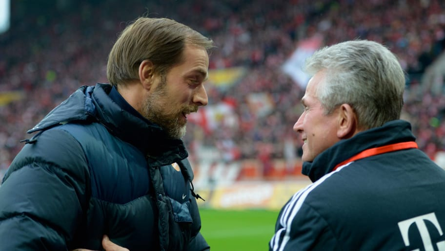MAINZ, GERMANY - FEBRUARY 02:  Head coaches Thomas Tuchel of Mainz and Jupp Heynckes of Bayern joke prior to the Bundesliga match between 1. FSV Mainz 05 and FC Bayern Muenchen at Coface Arena on February 2, 2013 in Mainz, Germany.  (Photo by Dennis Grombkowski/Bongarts/Getty Images)