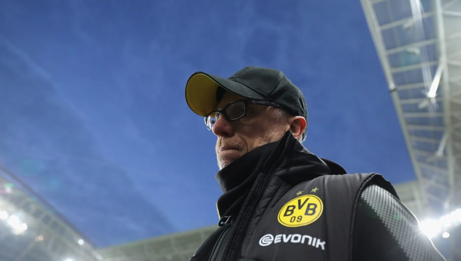 LEIPZIG, GERMANY - MARCH 03: Head coach Peter Stoeger of Borussia Dortmund looks on prior to the Bundesliga match between RB Leipzig and Borussia Dortmund at Red Bull Arena on March 3, 2018 in Leipzig, Germany.  (Photo by Boris Streubel/Bongarts/Getty Images)