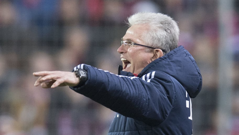 Munich's head coach Jupp Heynckes reacts during the German first division Bundesliga football match SC Freiburg versus Bayern Munich on March 4, 2018 in Freiburg. / AFP PHOTO / THOMAS KIENZLE / RESTRICTIONS: DURING MATCH TIME: DFL RULES TO LIMIT THE ONLINE USAGE TO 15 PICTURES PER MATCH AND FORBID IMAGE SEQUENCES TO SIMULATE VIDEO. == RESTRICTED TO EDITORIAL USE == FOR FURTHER QUERIES PLEASE CONTACT DFL DIRECTLY AT + 49 69 650050         (Photo credit should read THOMAS KIENZLE/AFP/Getty Images)