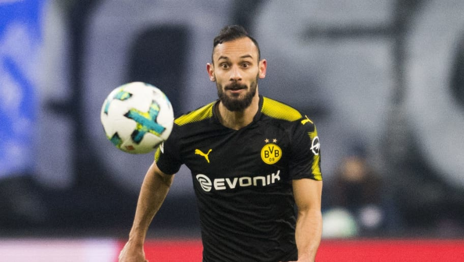 Dortmund's Turkish defender Omer Toprak plays the ball during the German first division Bundesliga football match RB Leipzig vs Borussia Dortmund in Leipzig, eastern Germany, on March 3, 2018. / AFP PHOTO / ROBERT MICHAEL / RESTRICTIONS: DURING MATCH TIME: DFL RULES TO LIMIT THE ONLINE USAGE TO 15 PICTURES PER MATCH AND FORBID IMAGE SEQUENCES TO SIMULATE VIDEO. == RESTRICTED TO EDITORIAL USE == FOR FURTHER QUERIES PLEASE CONTACT DFL DIRECTLY AT + 49 69 650050         (Photo credit should read ROBERT MICHAEL/AFP/Getty Images)