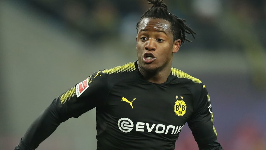 LEIPZIG, GERMANY - MARCH 03:  Michy Batshuayi runs during the Bundesliga match between RB Leipzig and Borussia Dortmund at Red Bull Arena on March 3, 2018 in Leipzig, Germany.  (Photo by Boris Streubel/Bongarts/Getty Images)