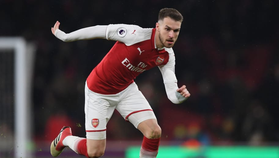 LONDON, ENGLAND - MARCH 01:  Aaron Ramsey of Arsenal runs with the ball during the Premier League match between Arsenal and Manchester City at Emirates Stadium on March 1, 2018 in London, England.  (Photo by Shaun Botterill/Getty Images)