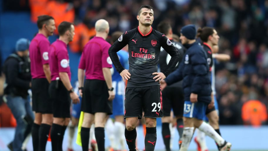 BRIGHTON, ENGLAND - MARCH 04: Granit Xhaka of Arsenal looks dejected following the Premier League match between Brighton and Hove Albion and Arsenal at Amex Stadium on March 4, 2018 in Brighton, England.  (Photo by Christopher Lee/Getty Images)