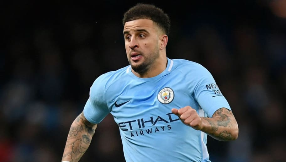 MANCHESTER, ENGLAND - JANUARY 31:  Kyle Walker of Manchester City in full flight during the Premier League match between Manchester City and West Bromwich Albion at Etihad Stadium on January 31, 2018 in Manchester, England.  (Photo by Laurence Griffiths/Getty Images)