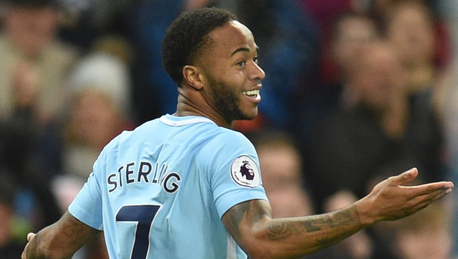 Manchester City's English midfielder Raheem Sterling celebrates scoring their second goal during the English Premier League football match between Manchester City and Bournemouth at the Etihad Stadium in Manchester, north west England, on December 23, 2017. / AFP PHOTO / Oli SCARFF / RESTRICTED TO EDITORIAL USE. No use with unauthorized audio, video, data, fixture lists, club/league logos or 'live' services. Online in-match use limited to 75 images, no video emulation. No use in betting, games or single club/league/player publications.  /         (Photo credit should read OLI SCARFF/AFP/Getty Images)